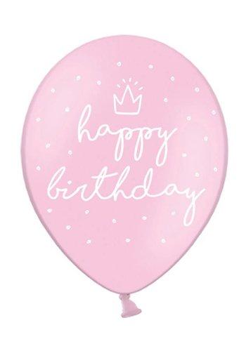 Ballonnen Happy Birthday Roze - 30cm - 6st