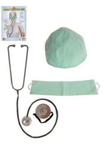 Dokters Set - Stethoscoop / Hoofd & Mond kapje / Spiegel