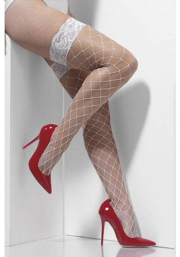 Diamond net Hold-Ups - Wit - Lace Tops met Silicone