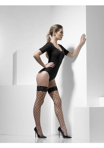 Diamond net Hold-Ups - Zwart - Lace Tops met Silicone