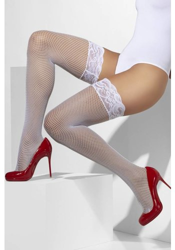 Visnet Hold-Ups - Wit - Lace Tops met Silicone