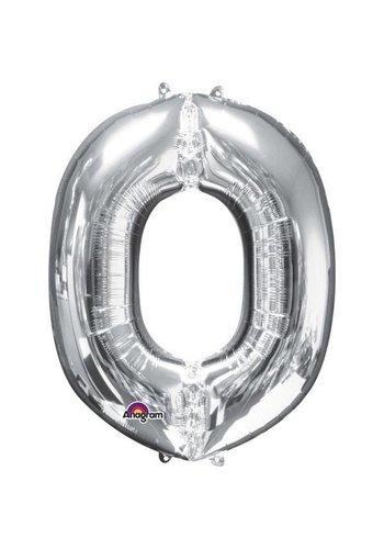 Folieballon O Zilver - 66x83cm