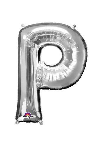 Folieballon P Zilver - 60x81cm