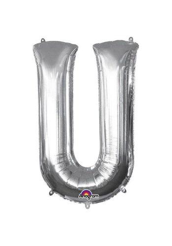 Folieballon U Zilver - 58x83cm