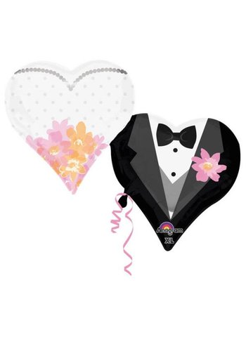 Folieballon Wedding Couple Hearts - 76x63cm