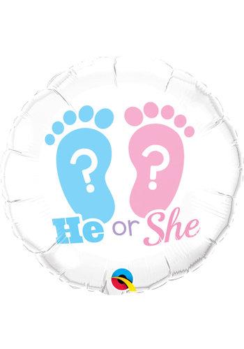 Folieballon - He or She - 45cm