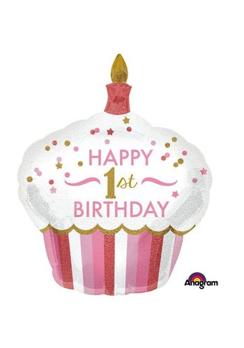 Folieballon Shape 1ste Birthday Girl - 73x91cm