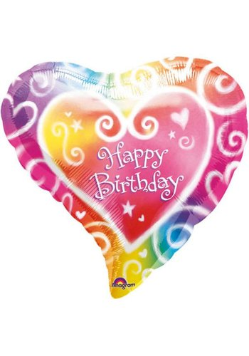 Folieballon - Happy Birthday Heart - 45cm