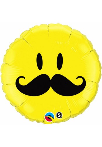 Folieballon Smiley Snor - 45cm