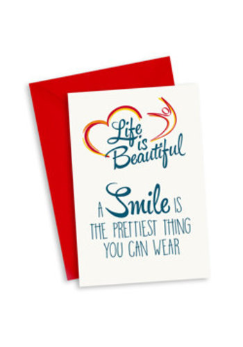 Life is Beautiful Kaart - A smile is the prettiest thing you can wear