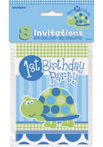 Uitnodigingen 1 jaar Blauw - 8 stuks