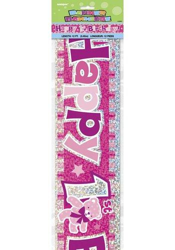 Banner 1 jaar roze - 3.65mtr