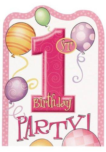 Uitnodigingen 1 jaar Roze - 8 stuks