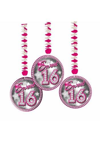Sweet 16 Hangdecoratie - 3 stuks
