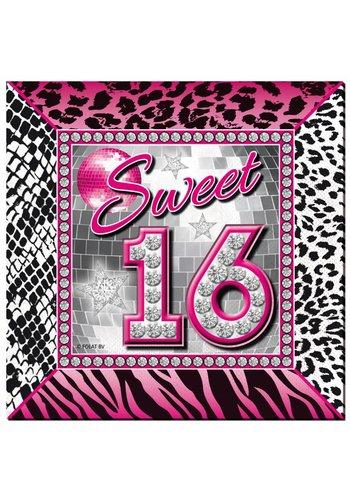 Sweet 16 Servetten 25x25cm - 16 stuks