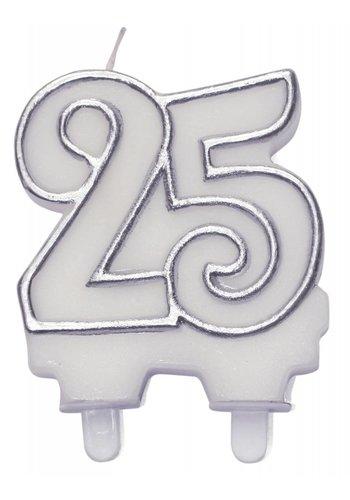 Cijferkaarsje 25 Zilver