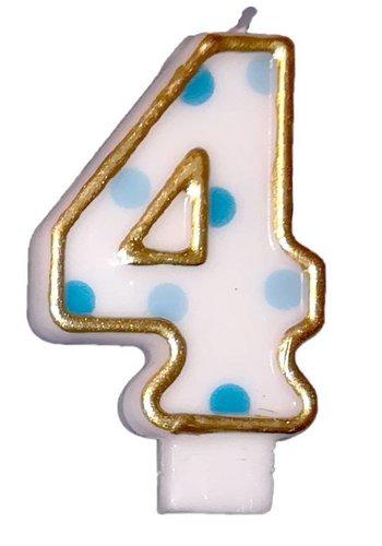 Cijferkaarsje 4 Blauw