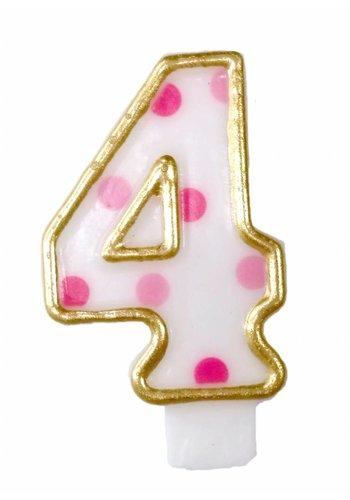 Cijferkaarsje 4 Roze