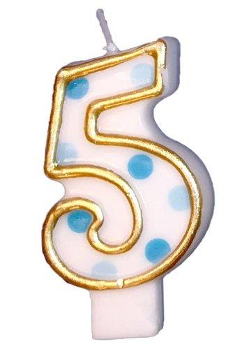 Cijferkaarsje 5 Blauw