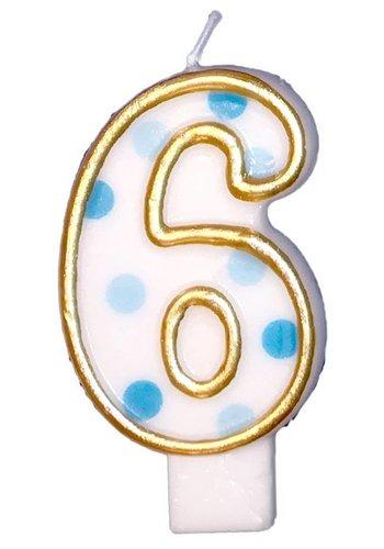 Cijferkaarsje 6 Blauw