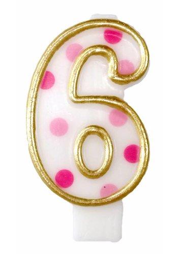 Cijferkaarsje 6 Roze