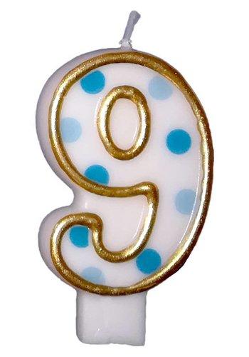 Cijferkaarsje 9 Blauw