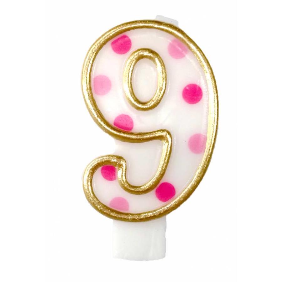 Cijferkaarsje 9 Roze-1