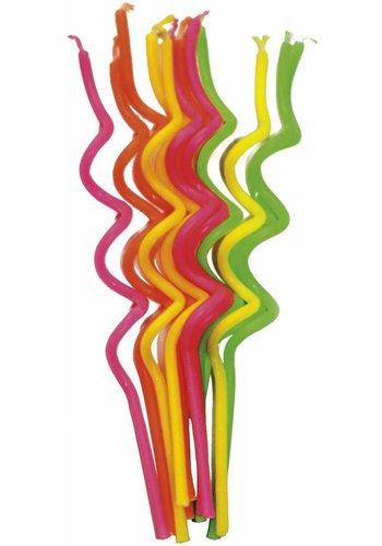 Twisted Kaarsjes Gekleurd - 12 stuks