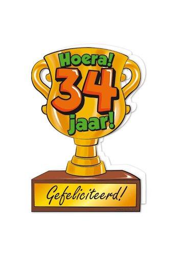 Wenskaart Trofee - 34 Jaar