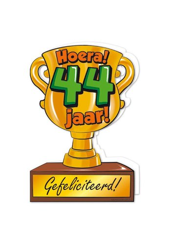 Wenskaart Trofee - 44 Jaar