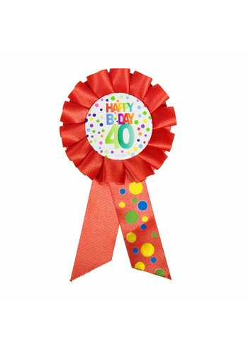 Rozet Rainbow Happy Birthday 40