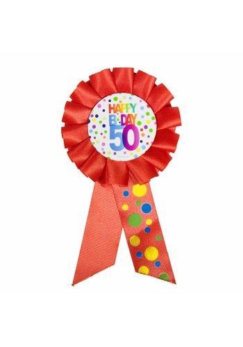 Rozet Rainbow Happy Birthday 50