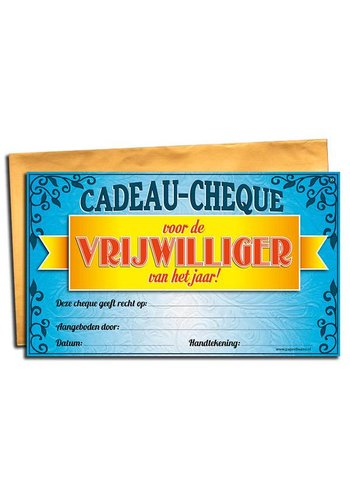 Gift Cheque - Vrijwilliger