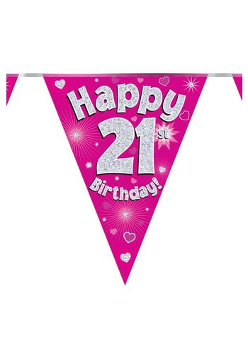 Vlaggenlijn Glitter Happy 21 - 3,9mtr