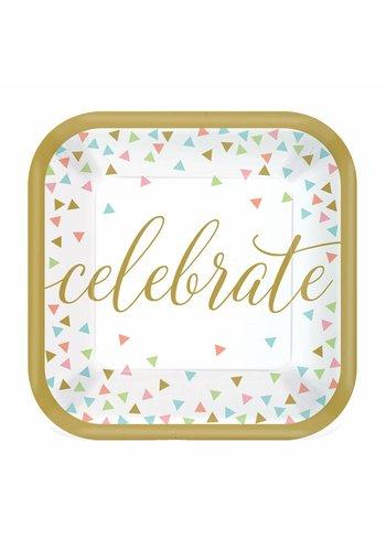 Bordjes Confetti Fun Celebrate - 18cm - 18 stuks