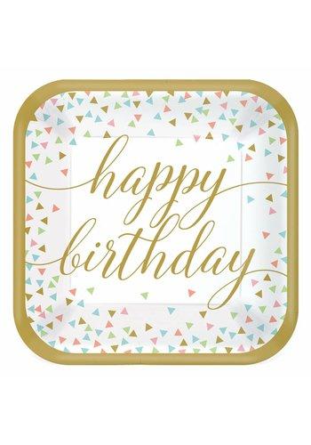 Bordjes Confetti Fun Happy Birthday - 23cm - 18 stuks