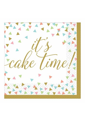 Servetten Confetti Fun It's Cake Time - 33x33cm - 36 stuks