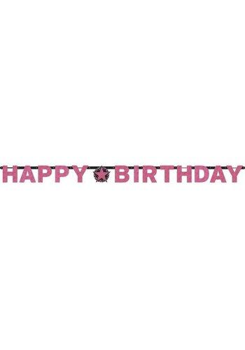 Letterbanner Happy Happy Birthday Birthday Pink&Black - 213 x 16.2 cm