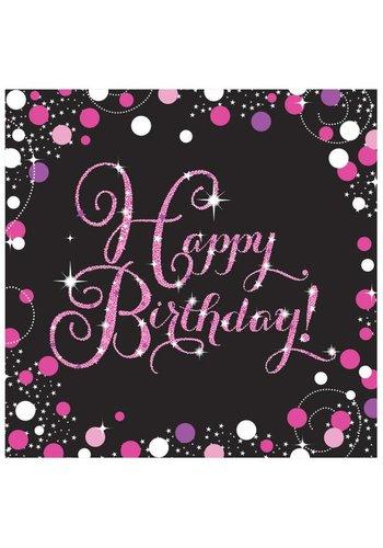 Sparkling Birthday Pink- Servetten - 16 stuks