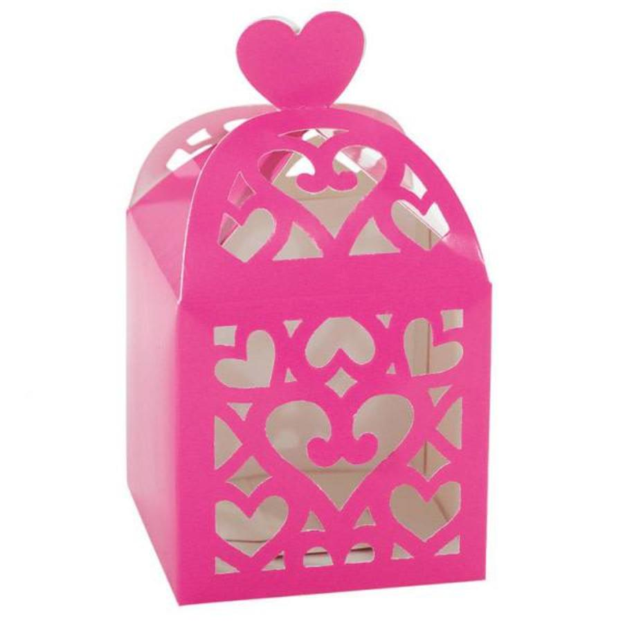 Favour Boxes Colourful Wedding Pink - 50 stuks - 6.3x6.3x6.3cm-1
