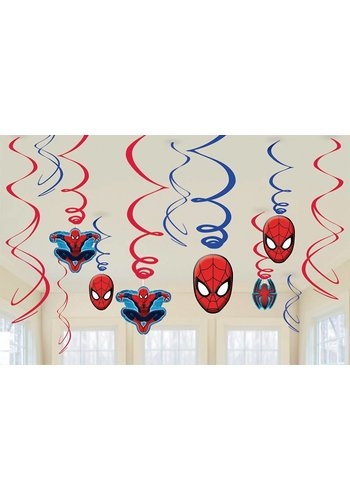 Spiderman Swirl decoratie - 12 stuks