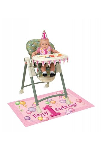 1st Birthday pink & Gold stoel versiering