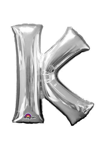 Folieballon K Zilver - 66x83cm