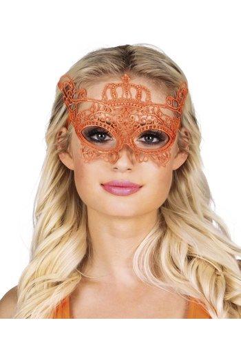 Kanten oogmasker oranje