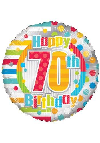 Folieballon - Happy 70th birthday - 45cm