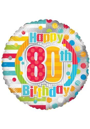 Folieballon - Happy 80th birthday - 45cm