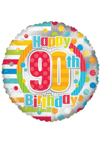 Folieballon - Happy 90th birthday - 45cm