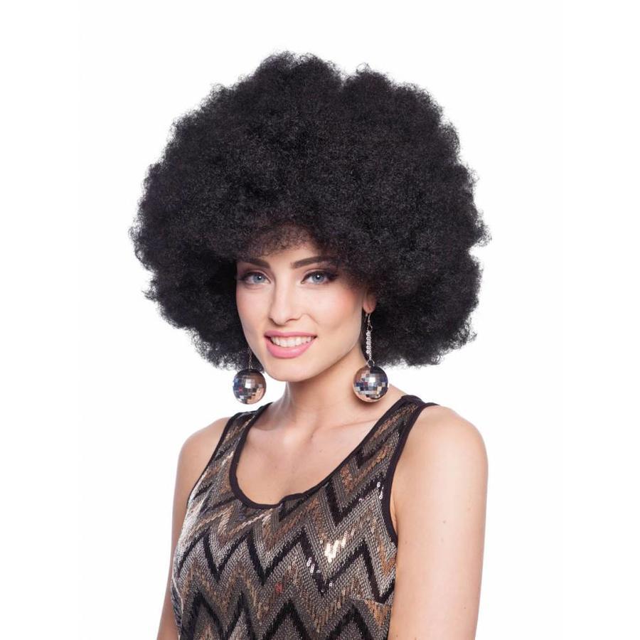 Afro Pruik - Zwart-1