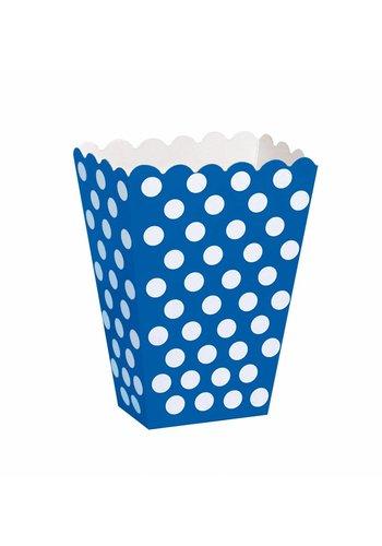 Uitdeel Box Dots Donker Blauw 14,5cm - 8 stuks