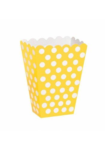 Uitdeel Box Dots Geel 14,5cm - 8 stuks